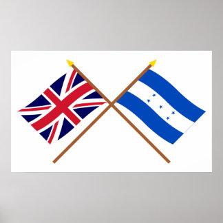 Reino Unido y banderas cruzadas Honduras Póster