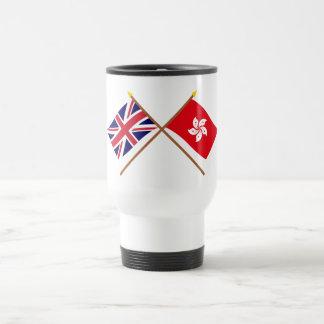 Reino Unido y banderas cruzadas Hong Kong Taza
