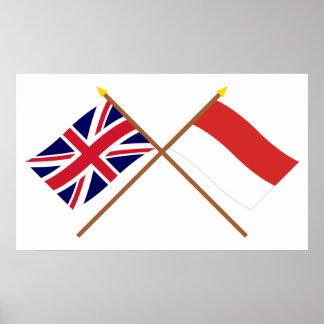 Reino Unido y banderas cruzadas Indonesia Póster