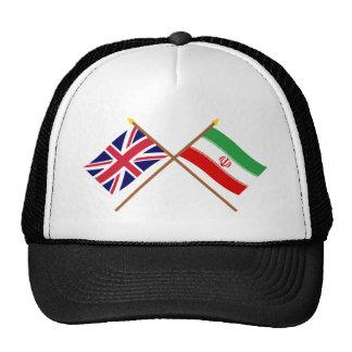 Reino Unido y banderas cruzadas Irán Gorras