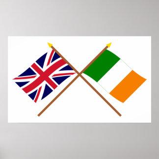 Reino Unido y banderas cruzadas Irlanda Impresiones