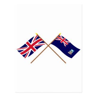 Reino Unido y banderas cruzadas Islas Malvinas Postal