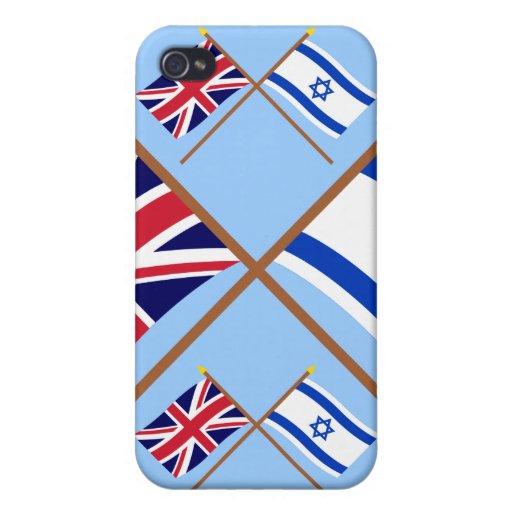 Reino Unido y banderas cruzadas Israel iPhone 4 Carcasa