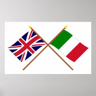 Reino Unido y banderas cruzadas Italia Póster