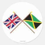 Reino Unido y banderas cruzadas Jamaica Pegatina Redonda