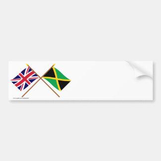 Reino Unido y banderas cruzadas Jamaica Pegatina Para Auto