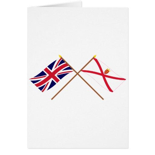 Reino Unido y banderas cruzadas jersey Tarjeta De Felicitación
