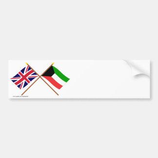 Reino Unido y banderas cruzadas Kuwait Etiqueta De Parachoque