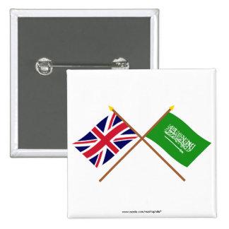 Reino Unido y banderas cruzadas la Arabia Saudita Pin Cuadrado