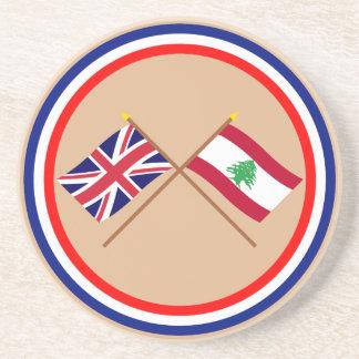 Reino Unido y banderas cruzadas Líbano Posavasos Cerveza