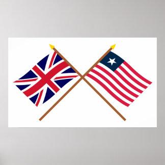 Reino Unido y banderas cruzadas Liberia Póster