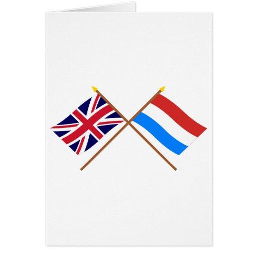 Reino Unido y banderas cruzadas Luxemburgo Tarjeta De Felicitación