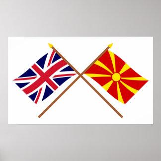 Reino Unido y banderas cruzadas Macedonia Póster