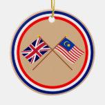 Reino Unido y banderas cruzadas Malasia Ornaments Para Arbol De Navidad