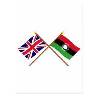 Reino Unido y banderas cruzadas Malawi Postales