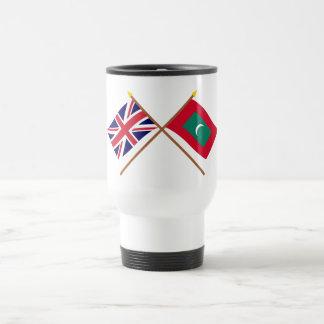 Reino Unido y banderas cruzadas Maldivas Taza Térmica