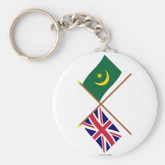 Reino Unido y banderas cruzadas Mauritania Llaveros Personalizados