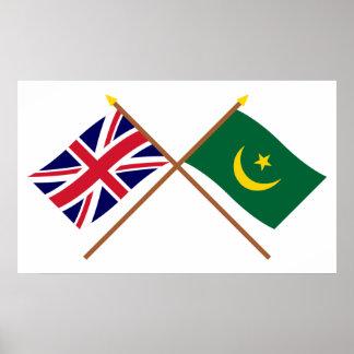 Reino Unido y banderas cruzadas Mauritania Posters