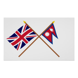 Reino Unido y banderas cruzadas Nepal Póster
