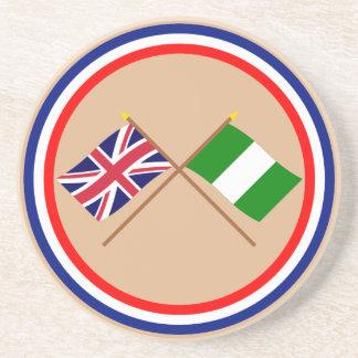 Reino Unido y banderas cruzadas Nigeria Posavasos Para Bebidas