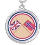 Reino Unido y banderas cruzadas Noruega Collares Personalizados