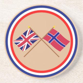 Reino Unido y banderas cruzadas Noruega Posavasos Personalizados