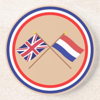 Reino Unido y banderas cruzadas Países Bajos Posavasos Cerveza