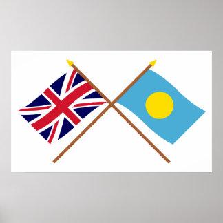 Reino Unido y banderas cruzadas Palau Póster
