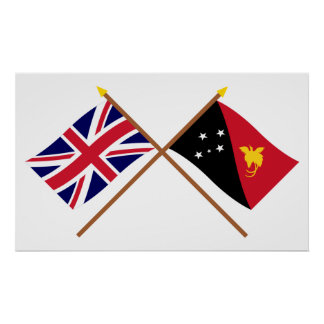 Reino Unido y banderas cruzadas Papúa Nueva Guinea Póster