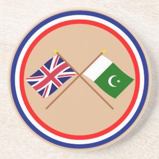 Reino Unido y banderas cruzadas Paquistán Posavasos Personalizados