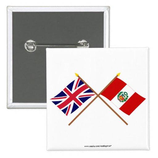 Reino Unido y banderas cruzadas Perú Pin