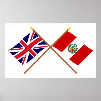 Reino Unido y banderas cruzadas Perú Póster