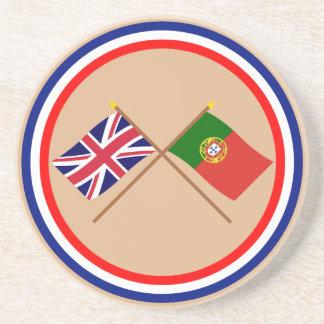 Reino Unido y banderas cruzadas Portugal Posavasos Manualidades