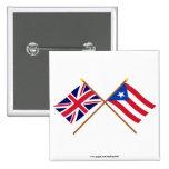 Reino Unido y banderas cruzadas Puerto Rico Pins