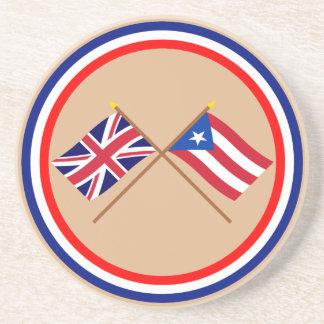 Reino Unido y banderas cruzadas Puerto Rico Posavasos Manualidades