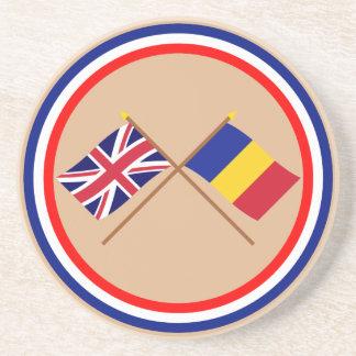 Reino Unido y banderas cruzadas Rumania Posavasos Personalizados