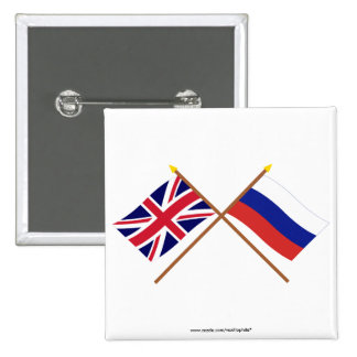 Reino Unido y banderas cruzadas Rusia Pin Cuadrado