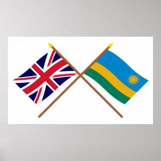 Reino Unido y banderas cruzadas Rwanda Impresiones