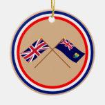Reino Unido y banderas cruzadas Santa Helena Ornamentos Para Reyes Magos