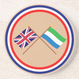 Reino Unido y banderas cruzadas Sierra Leone Posavasos Para Bebidas