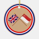 Reino Unido y banderas cruzadas Singapur Adornos De Navidad