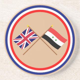 Reino Unido y banderas cruzadas Siria Posavaso Para Bebida