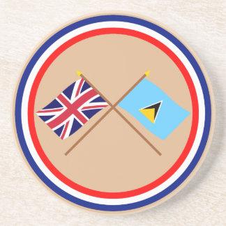 Reino Unido y banderas cruzadas St Lucia Posavasos Manualidades