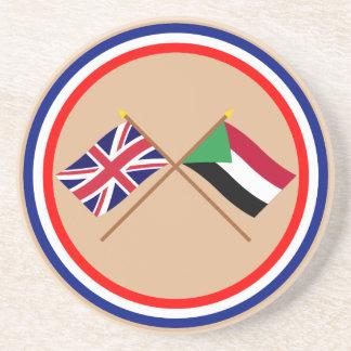 Reino Unido y banderas cruzadas Sudán Posavaso Para Bebida