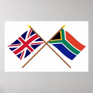 Reino Unido y banderas cruzadas Suráfrica Póster