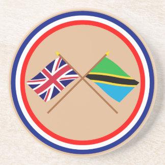 Reino Unido y banderas cruzadas Tanzania Posavaso Para Bebida