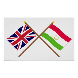 Reino Unido y banderas cruzadas Tayikistán Póster