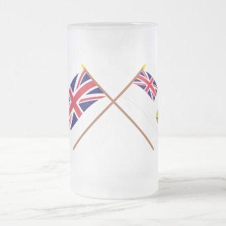 Reino Unido y banderas cruzadas territorio Taza De Cristal