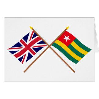 Reino Unido y banderas cruzadas Togo Tarjeta De Felicitación