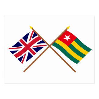 Reino Unido y banderas cruzadas Togo Tarjetas Postales